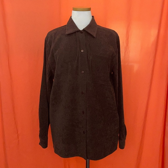 1980s Courtenay Faux-Suede Button-Up Top